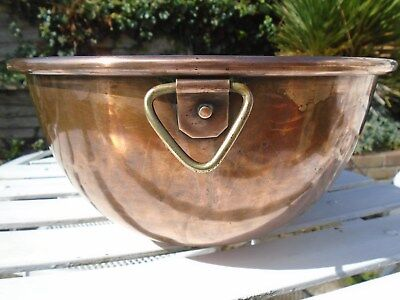 Superb Large Antique Heavy Victorian Solid Copper Mixing Bowl - 32 Cm Across