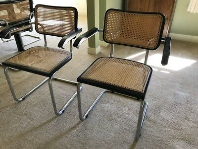 2 Marcel Breuer Cesca Armchairs. 1970, Made in Italy