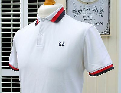 Fred Perry White Bold Tipped Pique Polo - S/M - Youth XL - Mod Ska Scooter Skins