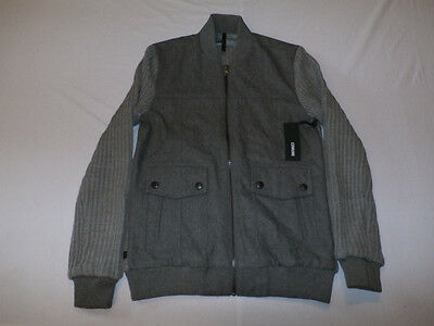 Comune Men's Goodwin Bomber Jacket w/ Knit Sleeves Charcoal Size Small NWT $148