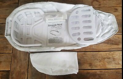 Snuggle Nest Surround XL Grey White Clouds-Never used-Co Sleeper-Extra liners!