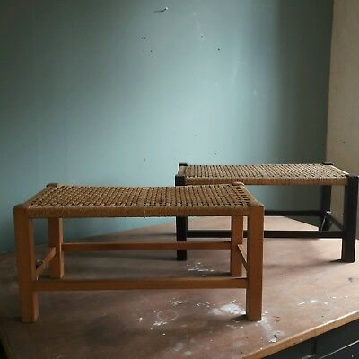 Vintage wooden framed foot stool with woven string top