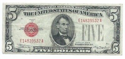 1928B $5 United States Red Seal Note $5 Circulated Note Still has Crispness
