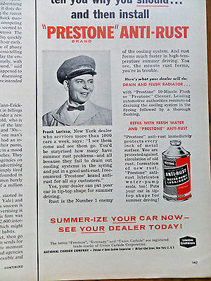 1958 Prestone Anti-Rust Brand Ad  Frank Larizza New York Dealer
