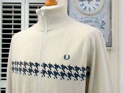 Fred Perry Ivory Dogtooth Track Jacket - L/XL - Ska Mod Scooter Casuals Skins