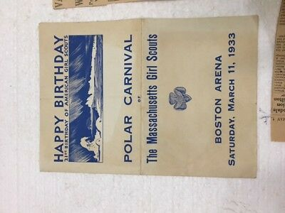Girl Scout Polar carnival, 1933, pamphlet and newspaper clips, Moxie