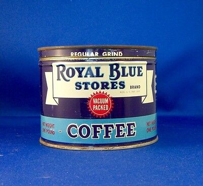 keywind tin ROYAL BLUE STORES COFFEE 1lb orig lid ROYAL BLUE STORES Chicago ILL