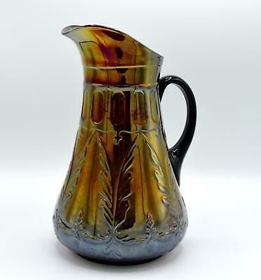 Vintage Dugan Amethyst Carnival Glass Pitcher - Quill Pattern - Rare