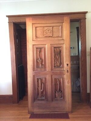 Antique  Solid Wood Hand Carved Entrance Door - Southwest Theme