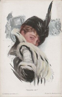 """Reinthal & Newman no.766, Harrison Fisher Artist Glamour Postcard """"Passers By""""."""