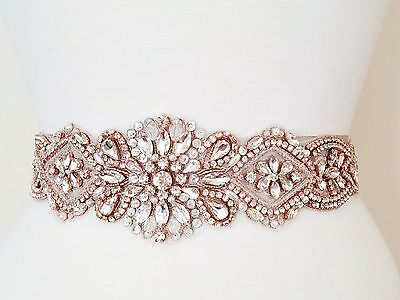 "Wedding Sash Belt - ROSE GOLD CLEAR CRYSTAL PEARL Belt = 17 1/2"" long"
