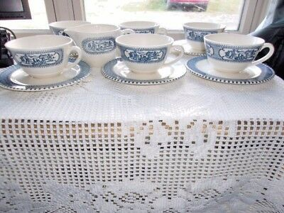 Currier & Ives Buggy Ride & Steamboat - 6 Cup and Saucer Sets And A Creamer