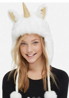 NWT Justice Kids Girls One Size Unicorn Faux Fur Winter Trapper Hat One Size **