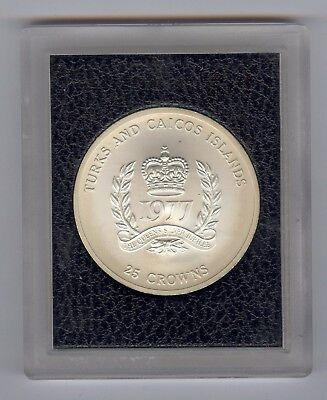 1977 Turks and Caicos Islands Silver 25 Crown Uncirculated Coin