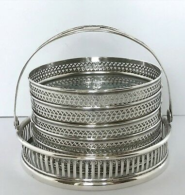 WEBSTER Sterling Silver & Cut Crystal Glass Starburst Coasters + Carry Caddy