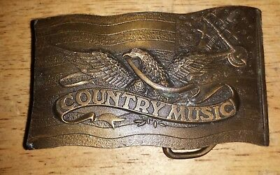 Vintage 1977 Indiana Metal Craft Brass Belt Buckle Country Music Cowboy