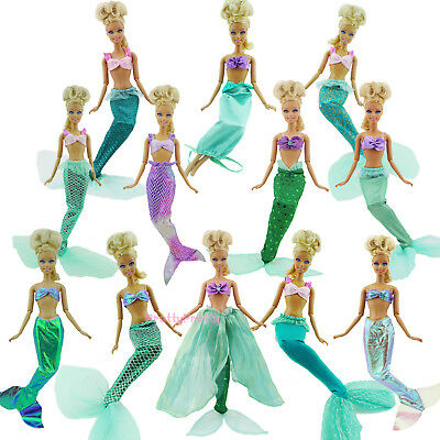 Lovely Mermaid Tail + Top Fairy Tale Dress Outfit Clothes For Barbie Doll Toy G