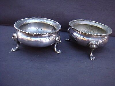 Pair Of Vintage Silver Plated Footed Salts By Walker & Hall