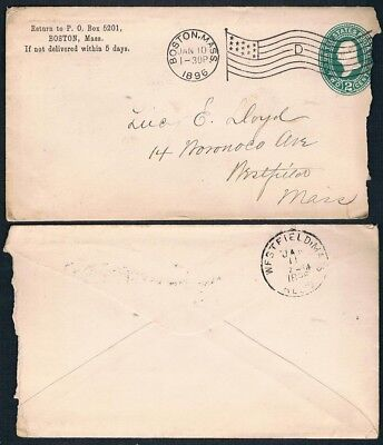 """U.S.1896 Boston to Westfield Used Cover with """"13 Stars Flag"""" Slogan Postmark"""