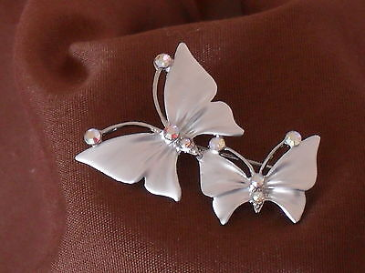 """Beautiful 2 Butterfly Silver Tone Brooch with  Aura Borealis  Stones (2"""" High)"""