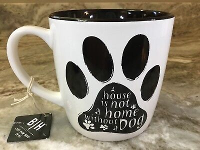 Large Pet Paw Coffee Mug. A House Is Not A Home Without A Dog. Blue Harbor. New.