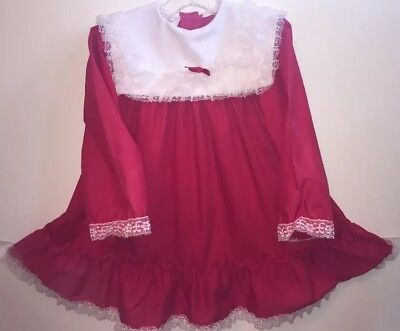 1960's Little Girls Dress by Jill Lynn Christmas Red Frilly Lace Size 4