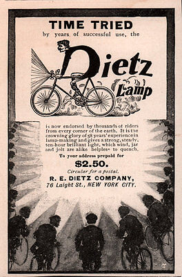 Ad Lot Of 3 Early Ads  Dietz Bicycle Lamp Tubular