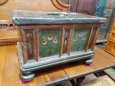 Rare Antique Painted 1700s Decorated Miniature Blanket Chest Pennsylvania Dutch