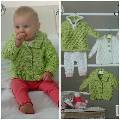 Baby KNITTING PATTERN Matinee Coat Cardigan Hoodie Chunky King Cole 4845