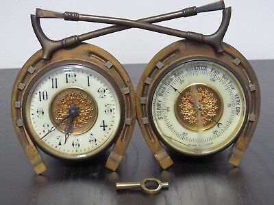 S F Paris Brass Carriage Clock Brass Bronze Barometer Equestrian Hunting Horse