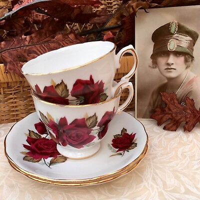 ROYAL VALE BONE CHINA CUP & SAUCER DUO SET x2 - DEEP RED ROSE & TURQUOISE