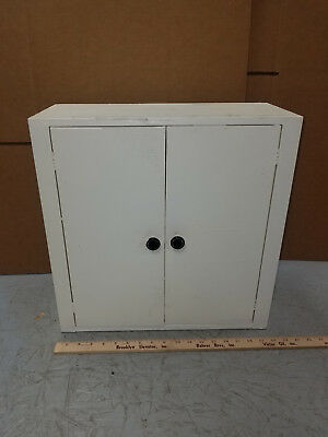 Vintage White Metal Cabinet  Old Industrial Kitchen Farmhouse double door
