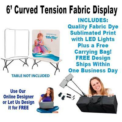 6' Curved Tension Fabric Display - Includes Fabric Print & LED Lights!