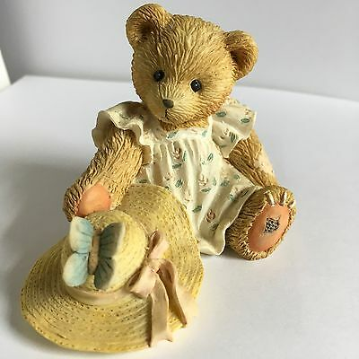 Cherished Teddies COURTNEY Bear with butterfly and hat figurine