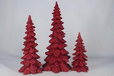 Dept 56 Village Accessory 'Red Holiday Trees' Set Of Three #4047558 New In Box