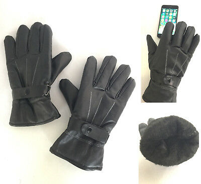 Men Winter Sport Motorcycle Ski Driving Touch Screen Leather Thermal Gloves 5906