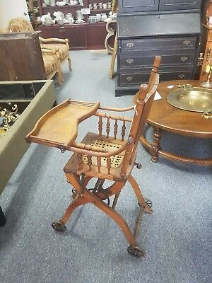 Antique Oak Convertible High Chair w. Caned Seat & Cast Iron Wheels