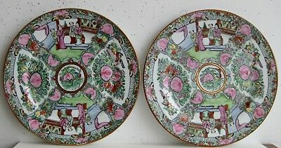Fine Old Pair of Japanese Porcelain Chinese Famille Rose Medallion Chargers  a