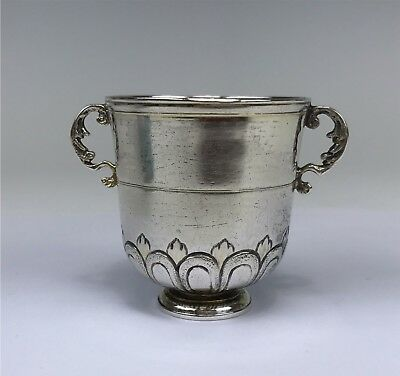 Continental Silver Antique Double-Handled Child's Cup, Possibly Hanau Marks