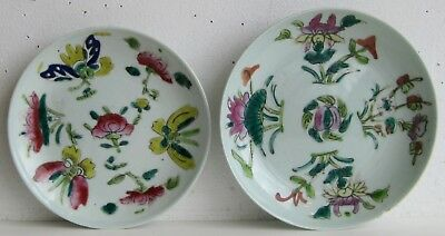Fine Old Pair of Chinese Porcelain Butterflies & Flowers Decorated Plates SIGNED
