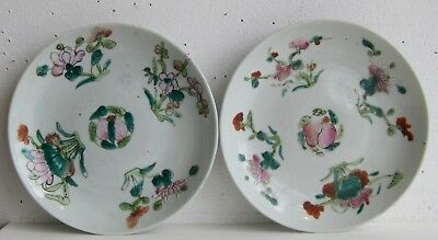 Fine Old Pair of Chinese Enamel Painted Porcelain Floral Decorated Plates SIGNED