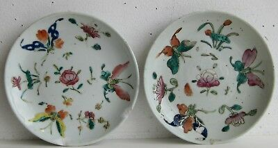 Fine Old Pair of Chinese Enamel Painted Porcelain Butterflies Motif Plates SIGND