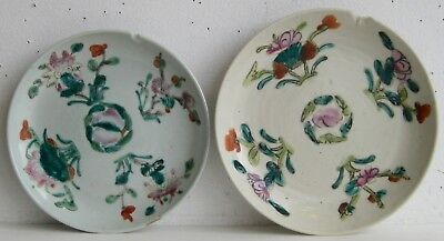 Fine Old Pair of Chinese Enamel Painted Porcelain Floral Motif Plates SIGNED