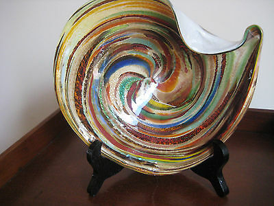 Vintage Murano Cased Glass Candy Dish Mid Century Striking