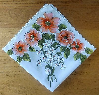 Vintage Hankie Scalloped Edges; Large Coral Flowers, Small White Flowers (SH8)