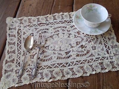 """Handmade Antique Battenberg Lace Doily Tray Cloth or Placemat 15 1/2"""" x 11"""""""