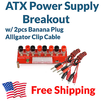 ATX Computer Power Supply Breakout Board Adapter +2pc Banana Plug Wires w/ Clips