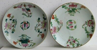 Fine Old Pair of Chinese Painted Porcelain Flowers Decorated Plates SIGNED