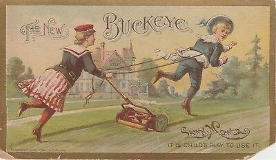 Victorian Trade Card Child's Play Buckeye Lawn Mower P. O. Mast Co