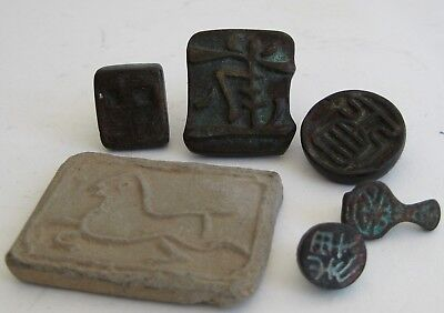 Antique Lot of 6 Chinese Bronze & Clay Paste Wax Seals Characters SIGNED